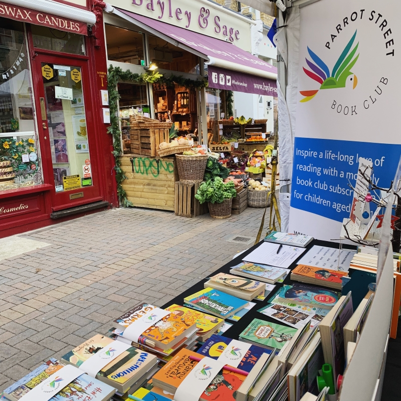 Parrot Street Book Club set up at Northcote Road Christmas Market