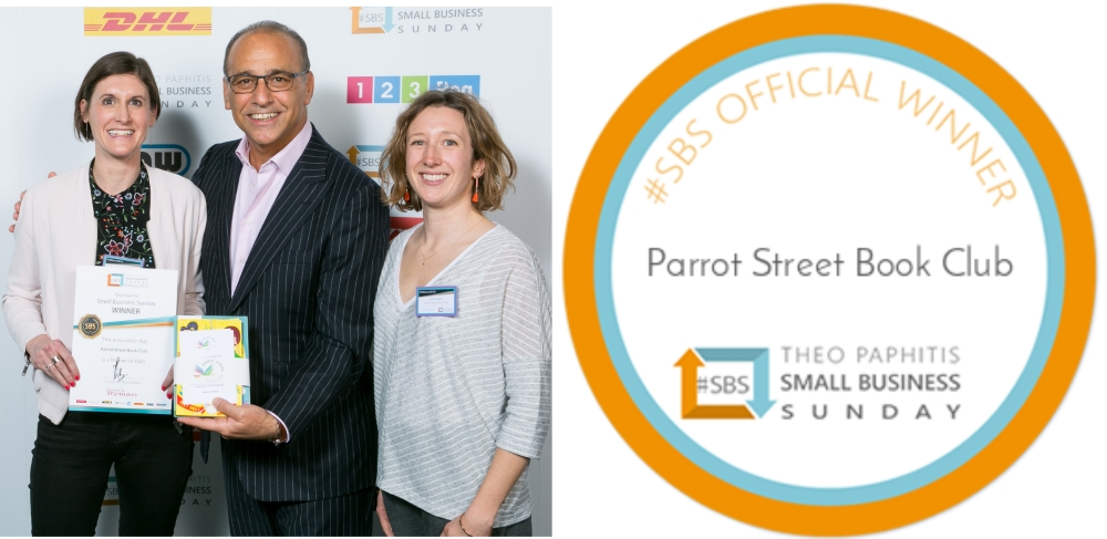 Emily and Sarah with Theo Paphitis and the SBS award