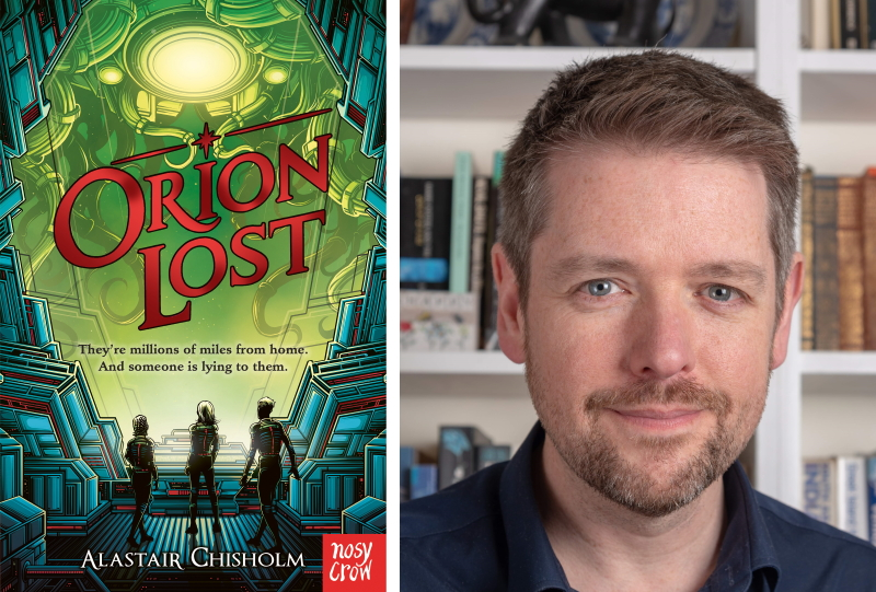 Children's author Alastair Chisholm and the cover of Orion Lost