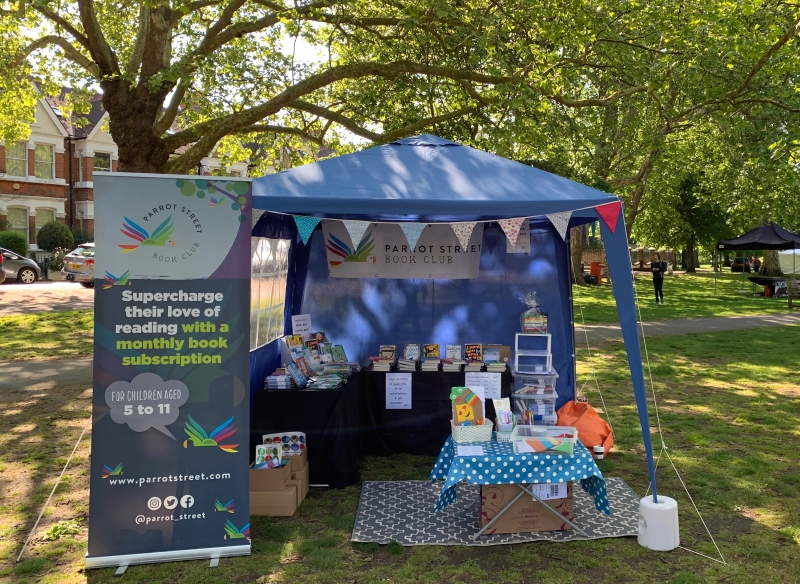 Parrot Street Book Club stall set up for an event