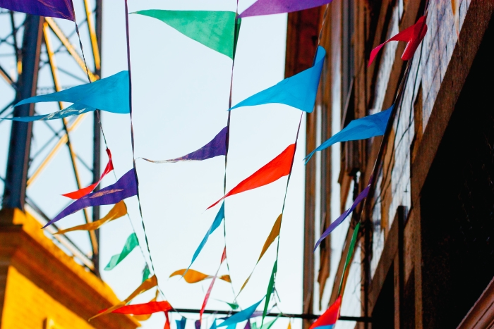 Bunting blowing in the wind