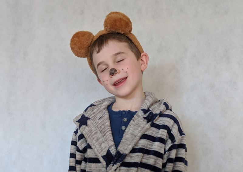 Child dressed as Mr Bear from Peace at Last