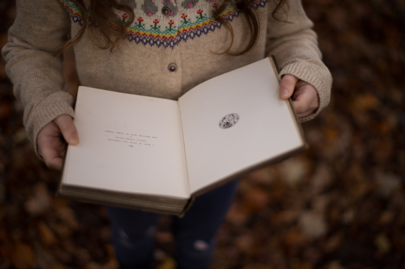 A girl reading a book surrounded by autumn leaves
