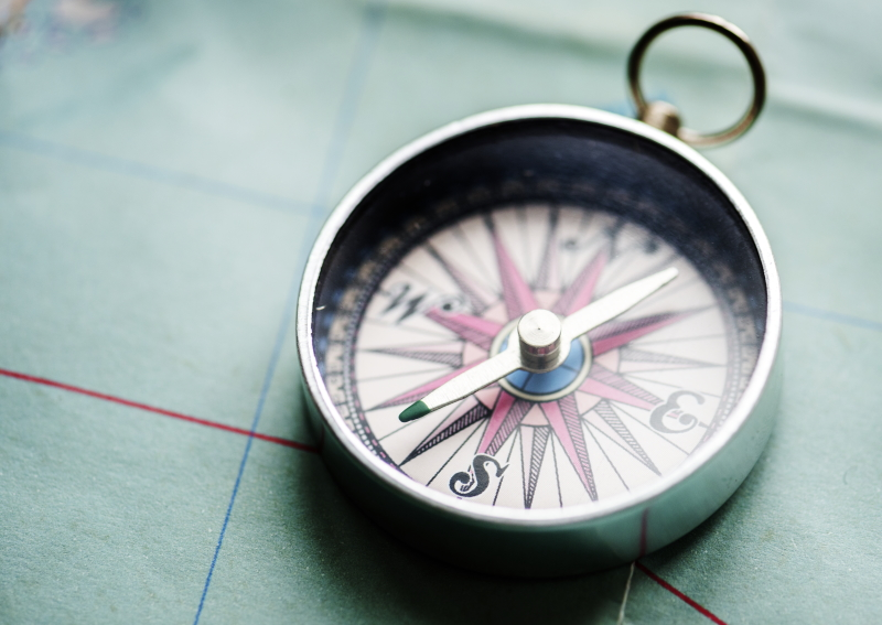 A compass lying on a map