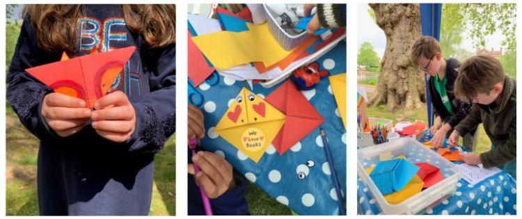 Images of children making corner bookmarks