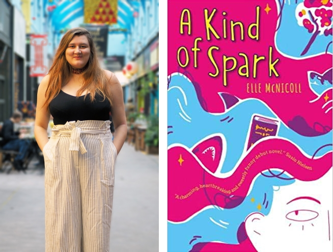 Children's author Elle McNicoll and the cover of A Kind of Spark