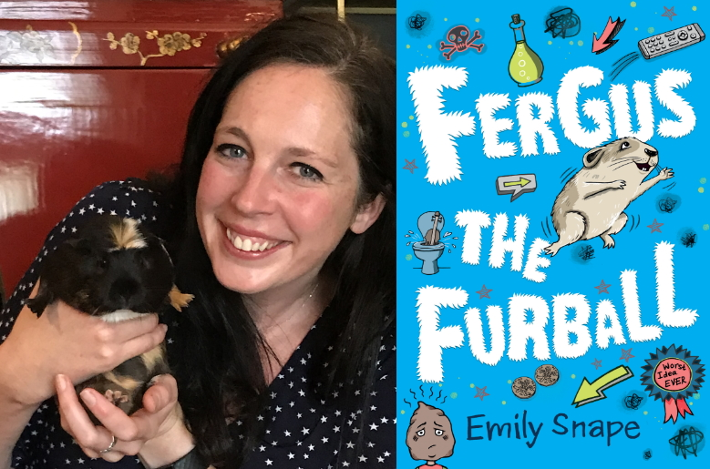 Author Emily Snape holding a guinea pig plus cover of Fergus the Furball