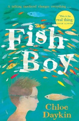 Fish Boy book cover showing a boy swimming surrounded by fish