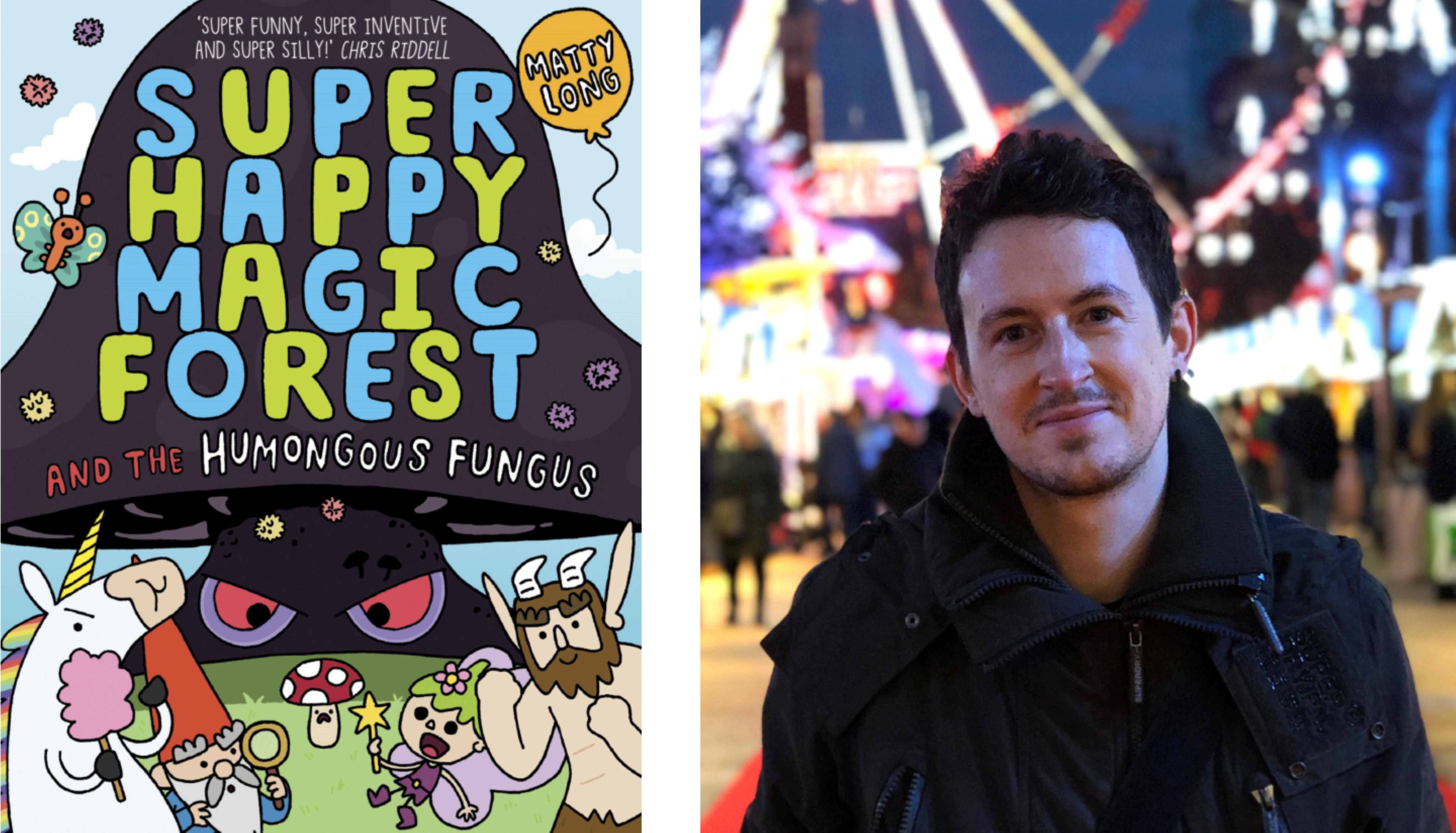 Children's author and illustrator Matty Long and the cover of Super Magic Happy Forest