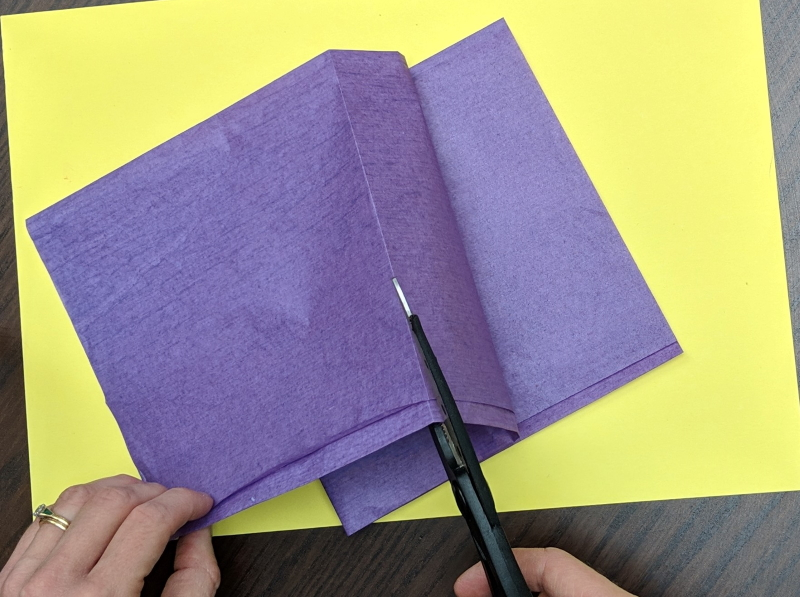 Folding and cutting tissue paper