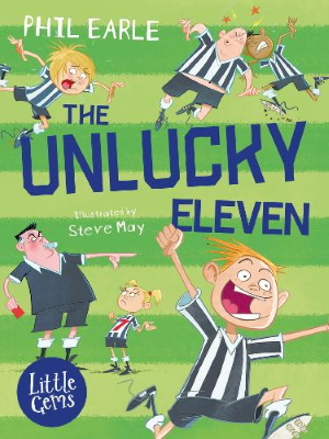 The Unlucky Eleven book cover showing kids on a football pitch